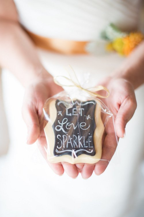Let Love Sparkle Wedding Cookie