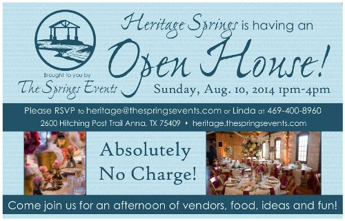 Heritage Springs Open House Flyer