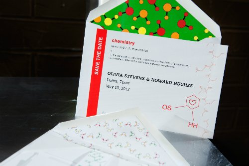 chemistry of love theme wedding invitation