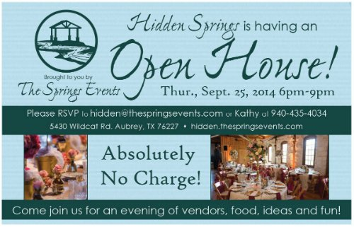 hidden springs open house aubrey texas wedding venue