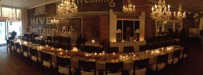 Gather,long table,brick wall,chandeliers,reception,rehearsal dinner