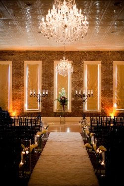 brick wall,chandelier,grand hotel,mckinney,ceremony,wedding