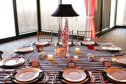 Patterned linen wedding tabletop