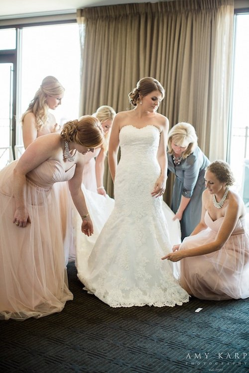 Light Pink Bridesmaid Gowns - Getting Ready for the Wedding