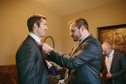 Groom Getting Ready - Gray Suit