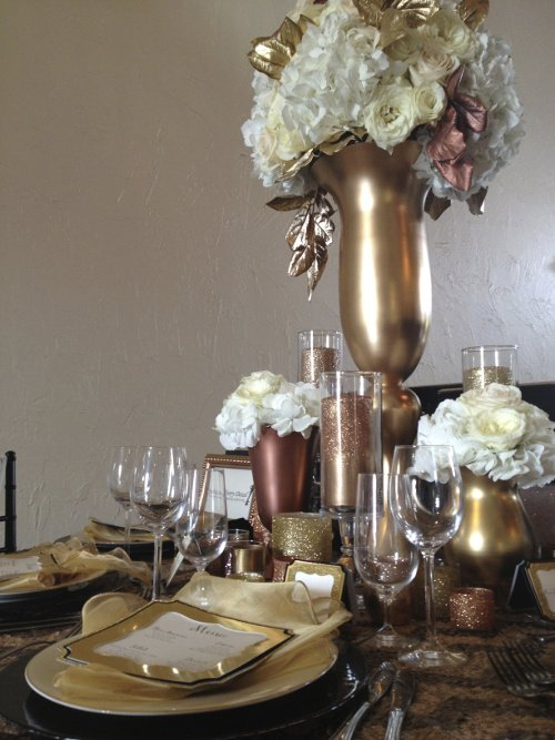 Mixed metallics centerpiece Each and Every Detail
