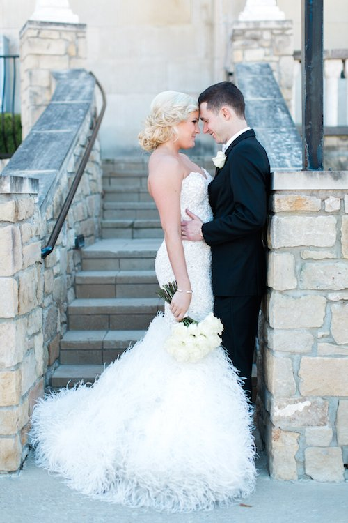 Bride and Groom - Feather Wedding Dress