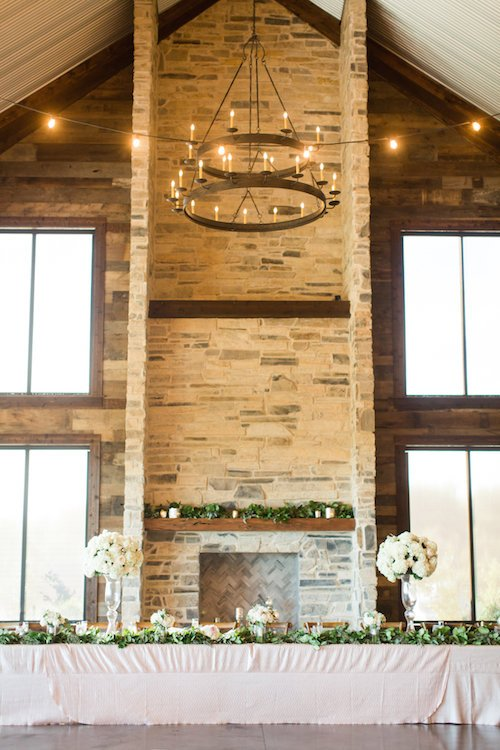 Stone Crest Venue - Wedding Head Table and fireplace
