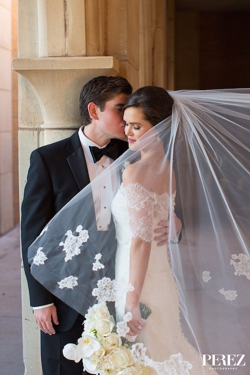 Bridal Boutique of Lewisville - Veil with floral accents