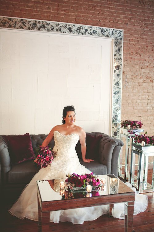 Bridal Gown - Bride pink and purple flowers