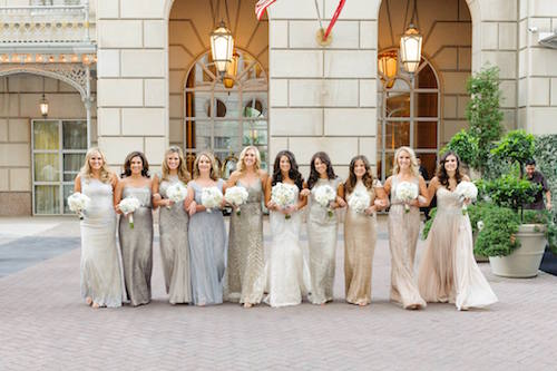 Bride and bridesmaids - mixed dress styles