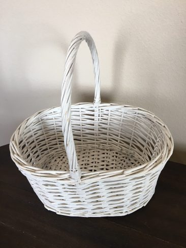 White Oval Basket with Handle (Tier One)