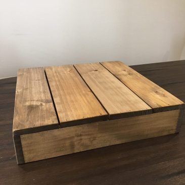 """Rustic Wood Square Cake Stand - 22"""" (Tier One)"""