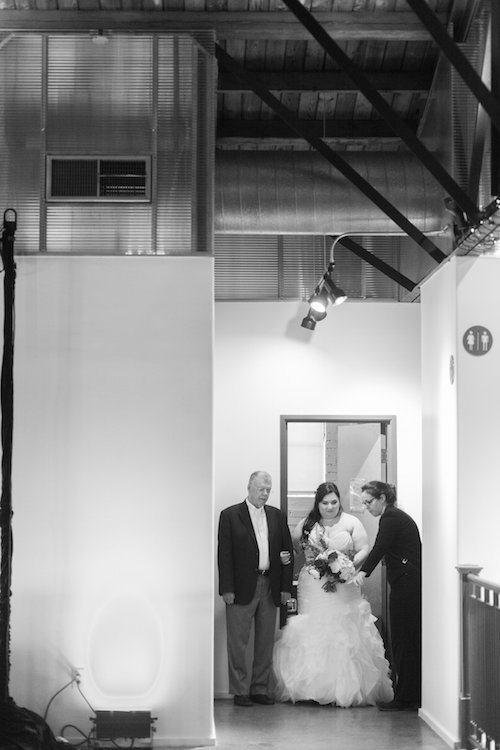 Bride and father ready to walk down the aisle