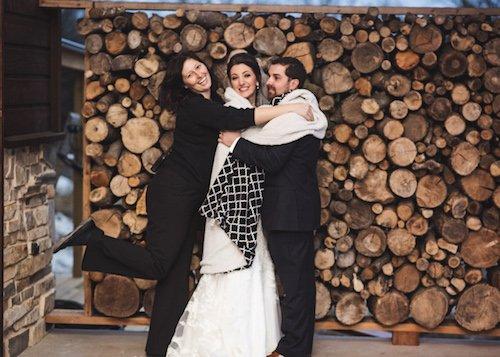 Behind the scenes cold wedding Bride and groom