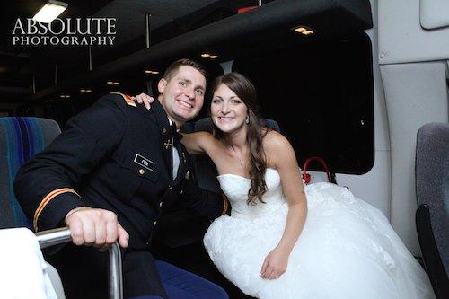 Wedding Transportation Bride and Groom on Shuttle