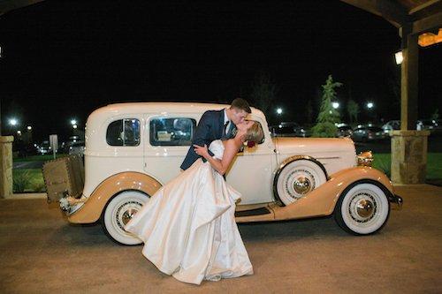 Bride and Groom Exit Vintage Car