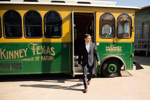 Groom Wedding Trolley Transportation