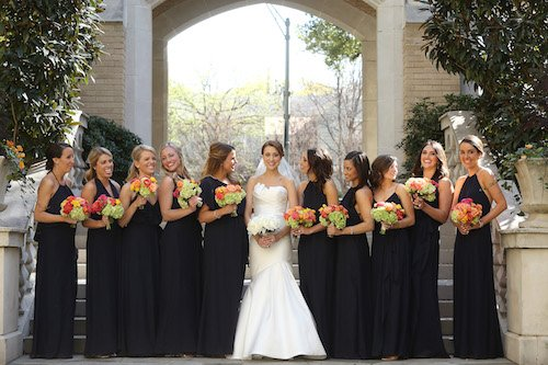 Bridesmaids Black with bright color flowers