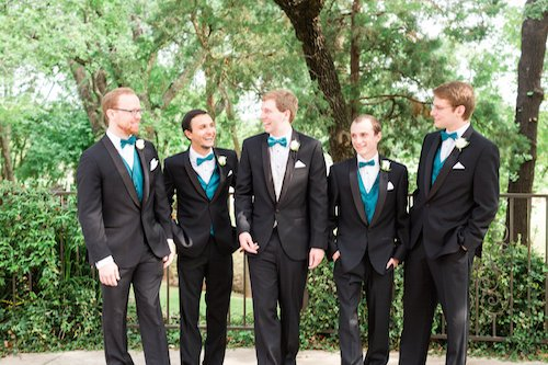 Groomsmen teal bow tie black tux
