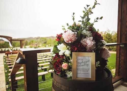 Burgundy Pink Wedding Ceremony Flowers