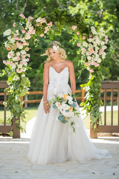 The Springs McKinney - ceremony site - soft pink floral - boho bride