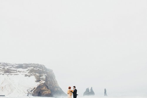 Two Pair Photography Bride and Groom Mountain Snow Scene