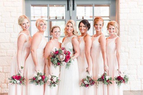 Lindsay Davenport Photography - Light Pink Bridesmaids Dresses - Burgundy Bouquet