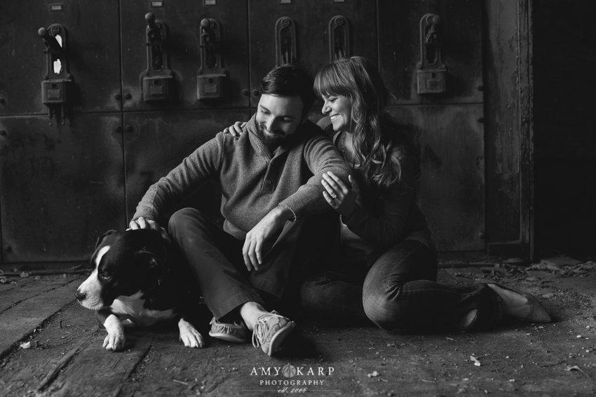 Black and White Engagment Photo - Amy Karp Photography - Engagement Dog Photo - Rustic Engagement Photo - Engagement Photo Ideas