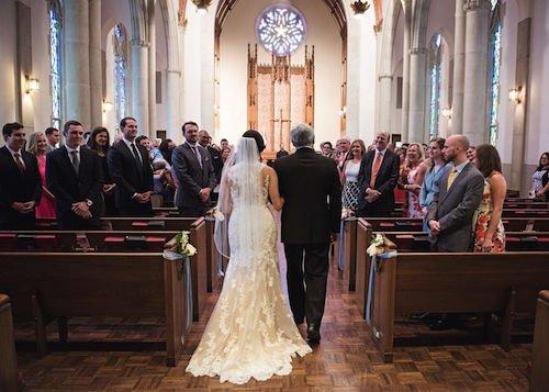 Church wedding ceremony - Walking down the aisle - Stain glass church wedding