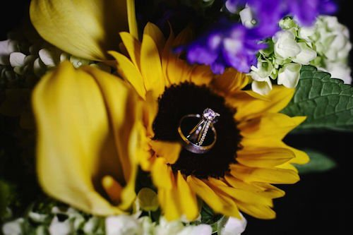Wedding Rings - Wedding rings in sunflower - yellow and navy wedding - wedding flowers