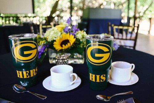 Customized wedding glasses - green bay wedding yeti - sunflowers and navy wedding