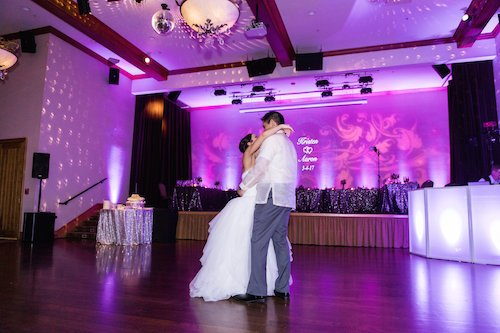 Purple uplights - Wedding Lighting - Jenny Bright Photography