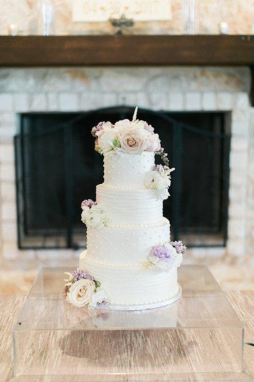 White Wedding Cake - Lavender Floral Cake - Acrylic Cake Stand