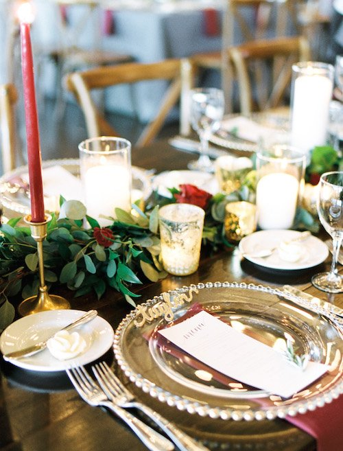 Details on the head table made it a show stopper for guests, including the fun gold acrylic names marking each place for guests at the head table.  We fell in love with the taper candles in gold candlesticks placed along the garland down the center of the table.