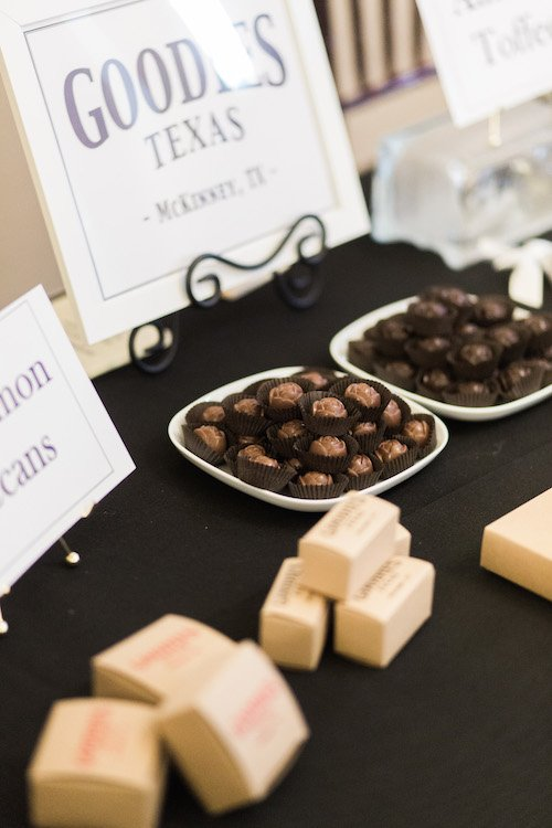 Custom chocolate in any form you can imagine! Toffee, Marshmallows, Pretzels, Oreos, Apples, Twinkies, you name it dipped in milk or dark chocolate. Who wouldn't love to receive a box of custom chocolates as their party favor at a wedding? - Goodies Texas, Each & Every Detail, Wedding Planner, McKinney, Texas
