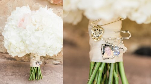 The flowers are beautiful but what really makes this bouquet special is the charms attached. The photos are of special people in the brides life and we love the sentiment! - Dallas Texas - Bridal Bouquet - Wedding Planner - Each & Every Detail