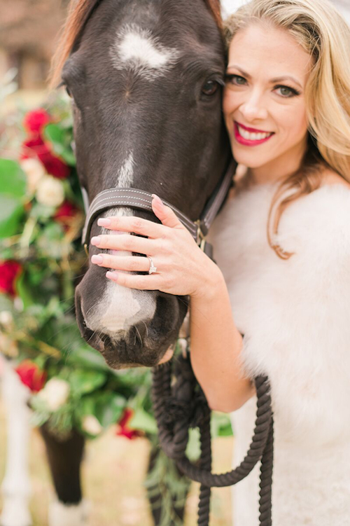 What a sweet way to incorporate floral and your favorite furry friend into your wedding day. The colors of the flowers even match the bride's lipstick. It's everything! - Dallas Texas - Wedding Horse Wreath - Wedding Planner - Each & Every Detail