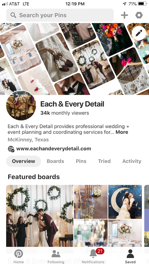 While most people know of Pinterest, this has to be on the list for anyone who doesn't! Search wedding guest tables, burgundy wedding, wedding favors, or anything you could need for a wedding. Pinterest is a great place to get ideas or see how others have made your ideas come to life. Pinterest is the ultimate source for wedding inspiration. - 5 best wedding apps - helpful wedding app - wedding planner - Each & Every Detail