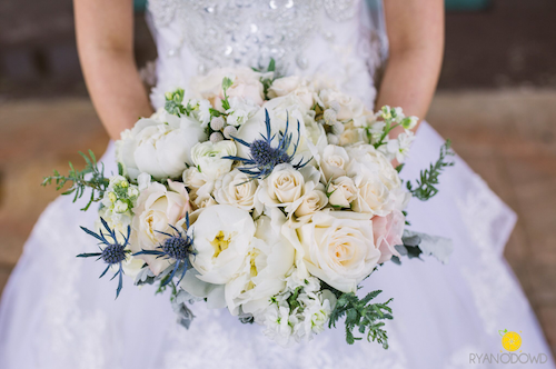 Aren't those blue thistles to die for! They were not only a fun way to add more texture, but also a shout out to the groom's Scottish heritage. - Dallas Texas - Bridal Bouquet - Wedding Planner - Each & Every Detail