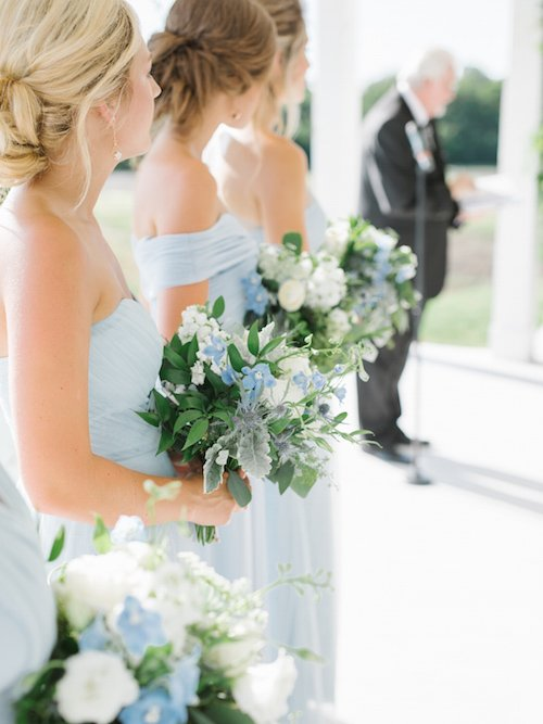 Her bouquet was perfection with the gorgeous peonies and touches of blue from thistles and delphinium. - Blue & Ivory Flowers - The Grand Ivory - McKinney, Texas - Wedding Planner - Each & Every Detail