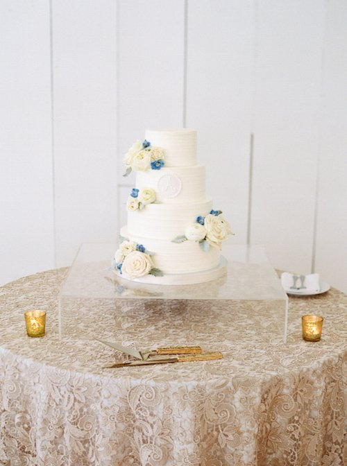Our acrylic cake stand had the bridal cake appearing to float on air! - Wedding Cake - Ivory & Blue Wedding Cake - McKinney Wedding Planner - Each & Every Detail