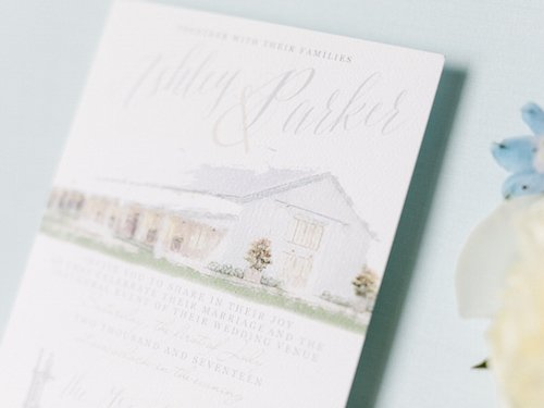 Ashley's colors paired perfectly with these buildings, from the dresses to the invitation suite.  (We love the hand drawn picture of the venue on the invitations!) - The Grand Ivory - McKinney, Texas - Wedding Planner - Each & Every Detail