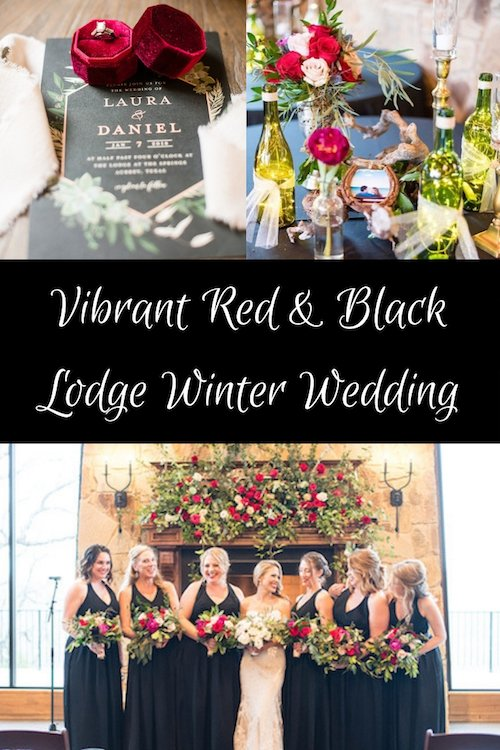 Lush red roses and sprawled greenery gave the this indoor, winter wedding a touch of the outdoors. The twinkle lights in wine bottles and dimmed lights set the romantic, warm tone. The Lodge at The Springs Denton set the tone for this rustic, winter wedding. The bride and groom had an old Hollywood type of glamour to their look which gave it a stylish touch.  - Vibrant Red & Black Wedding - Denton Texas - Rustic Lodge Wedding - McKinney Wedding Planner - Each & Every Detail