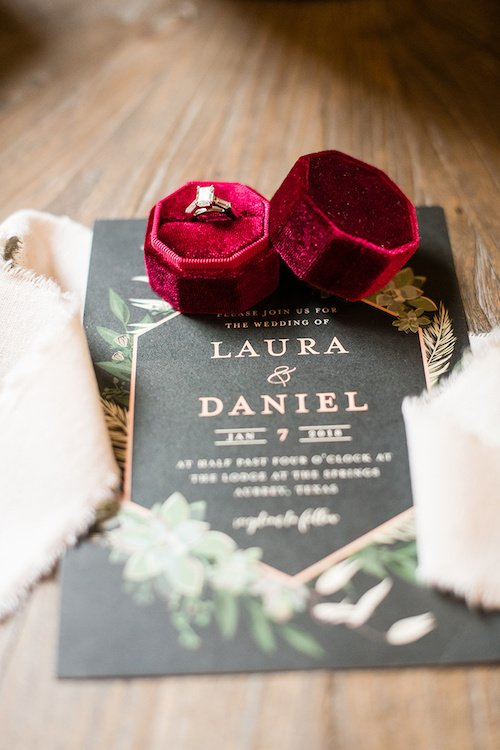 Real Wedding: Vibrant Red + Black Lodge Winter Wedding in Denton, Texas