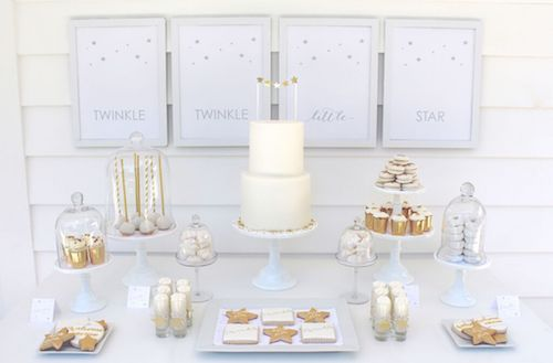 """I love the clean palette and adorable inspiration in this first shower. The twist on """"Twinkle Twinkle Little Star"""" makes my heart so happy. - Baby Shower Theme - Fun Shower Themes"""