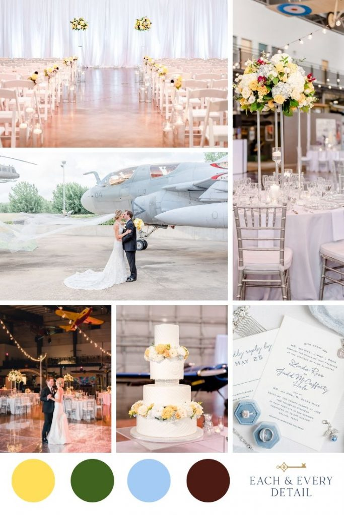 Romantic wedding surrounded by aviation history. With bright yellow and classic white flowers and pops of deep burgundy and traditional blue. The clear and silver elements provide a touch of modern to an otherwise traditional wedding. Dallas, Texas - Each & Every Detail - Catie Ann Photography