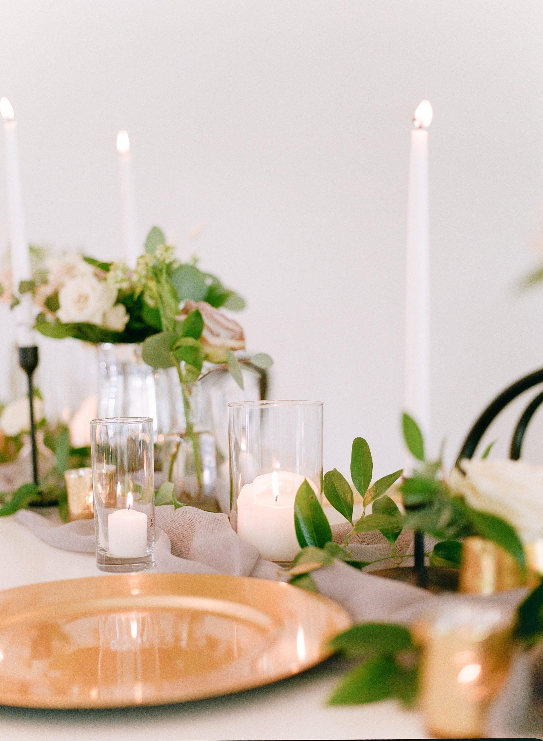 Ben Q Photography - Gold Table Setting with Greenery - Dallas Wedding - Modern Wedding - Wedding Decor - Taper Candles Wedding Tablescape - Dallas, Texas