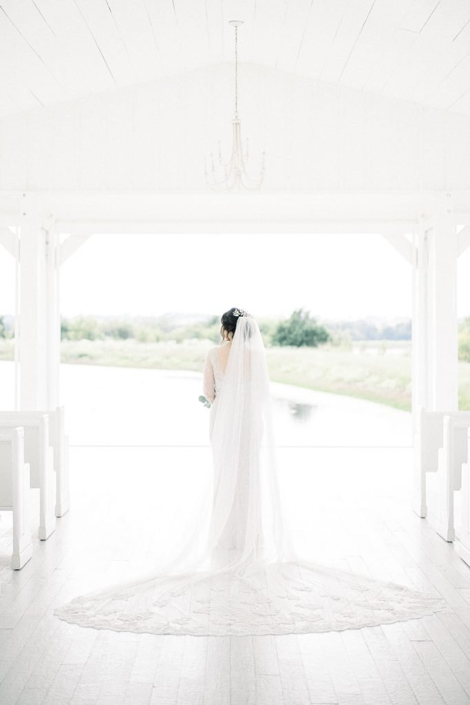 McKinney, Texas - Texas Outdoor Wedding - Each & Every Detail - Mauve & Burgundy Wedding - Lush Greenery Wedding - Bridal Portrait - Open Air Chapel - The Grand Ivory