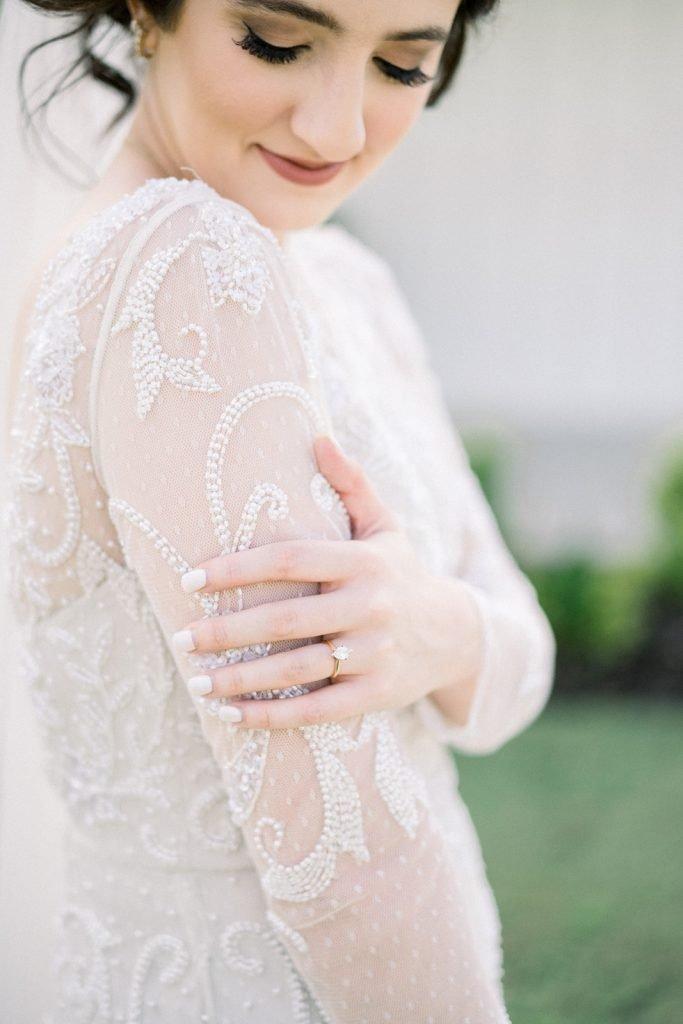 McKinney, Texas - Texas Outdoor Wedding - Each & Every Detail - Mauve & Burgundy Wedding - Lush Greenery Wedding - Bridal Ring - Detailed Wedding Dress